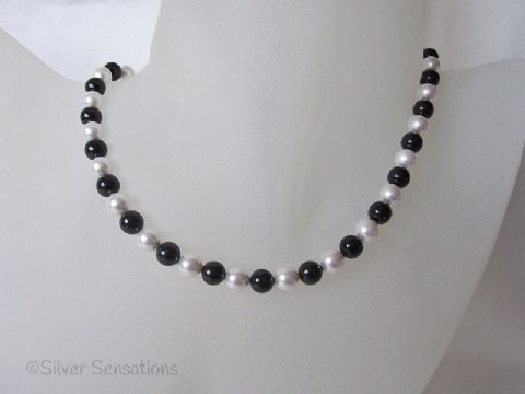 Elegant Jet Black & White Swarovski Pearls & Sterling Silver Handmade Necklace